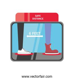 safe social distance of 6 feets and people legs detailed style icon vector design