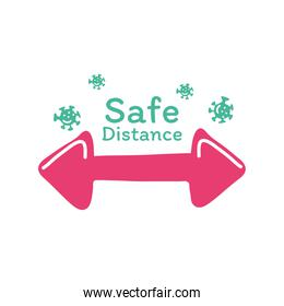 safe distance with arrow and covid 19 virus vector design