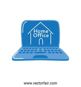 home office in laptop detailed style icon vector design