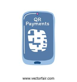 qr code payments in smartphone detailed style icon vector design