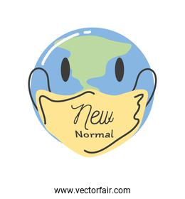 new normal mask on world cartoon detailed style icon vector design