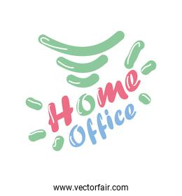home office text detailed style icon vector design