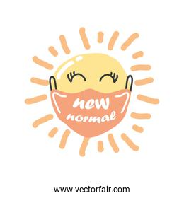 new normal mask on sun cartoon detailed style icon vector design