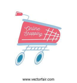 shopping online on cart detailed style icon vector design