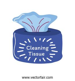 cleaning tissue box detailed style icon vector design