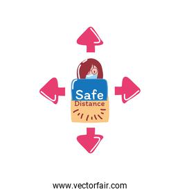 safe distance with woman cartoon and arrows detailed style icon vector design