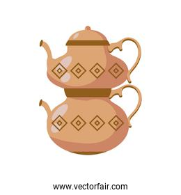 Turkish coffee pot detailed style icon vector design