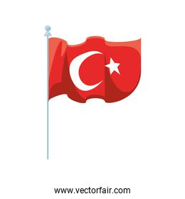Turkish flag detailed style icon vector design