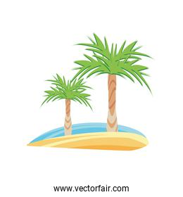 Isolated palm trees detailed style icon vector design