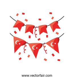 Turkish banner pennant detailed style icon vector design