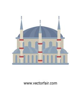 Turkish blue mosque building detailed style icon vector design