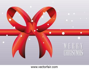 merry christmas label with red gift ribbon