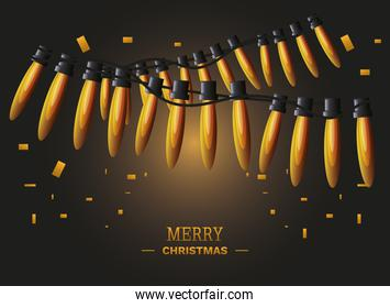 merry christmas label with glowing christmas lights