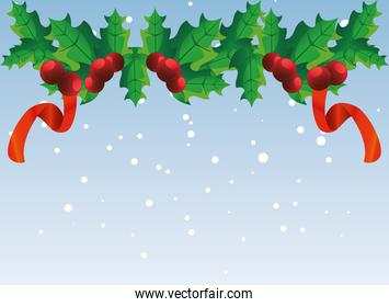 christmas banner with decorative garland, holly berry