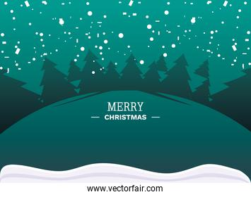 merry christmas label with cute winter landscape