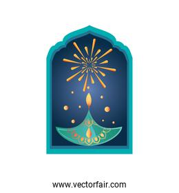 festival of lights, diwali candle at window in white background