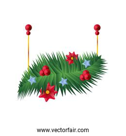 christmas decorated garland on white background