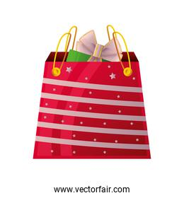 christmas red gift bag on white background