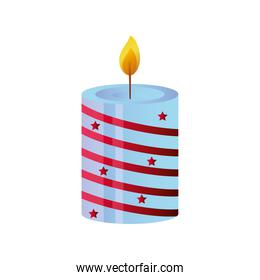 candle with christmas decoration on white background