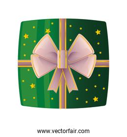 green gift box with ribbon on white background