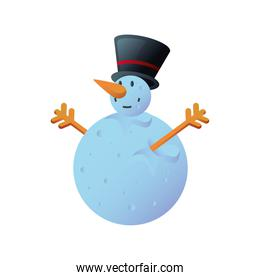 snowman raising hands with top hat on white background