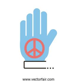 hand lifting peace symbol line and fill style icon