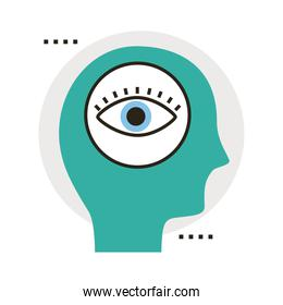 head human profile with eye line and fill style icon