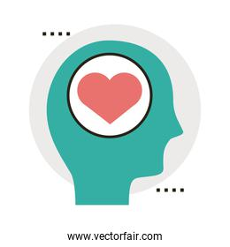 head human profile with heart line and fill style icon