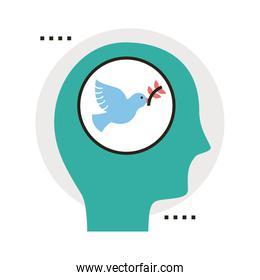 profile thinking in peace dove with olive branch flying line and fill style icon