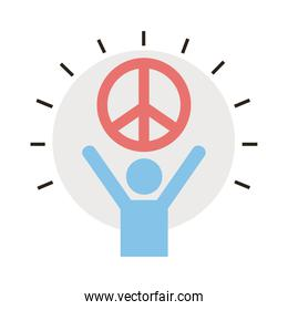 avatar figure lifting peace symbol line and fill style icon