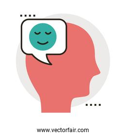 head human profile with happy face in speech bubble line and fill style icon