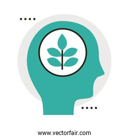 head human profile with leafs plant line and fill style icon