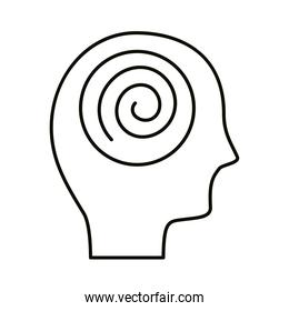 head human profile with spiral mind line style icon