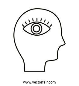 head human profile with eye line style icon