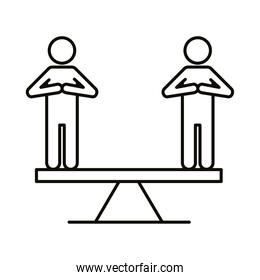 persons silhouettes in scale balance line style icon