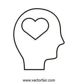 head human profile with heart line style icon