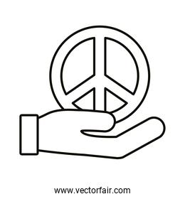 hand lifting peace symbol line style