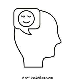 head human profile with happy face in speech bubble line style icon