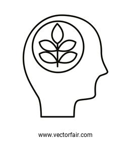 head human profile with leafs plant line style icon