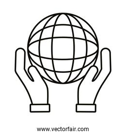 hands lifting sphere browser line style icon