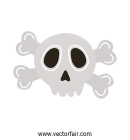 halloween head skull with bones crossed flat style icon