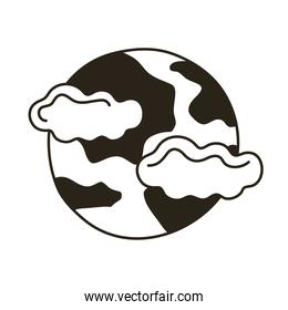 full moon and clouds line style icon