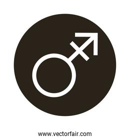 male gender symbol of sexual orientation  block style icon