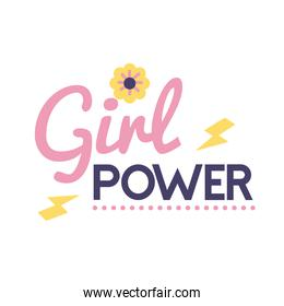 girl power feminism lettering with flower flat style icon