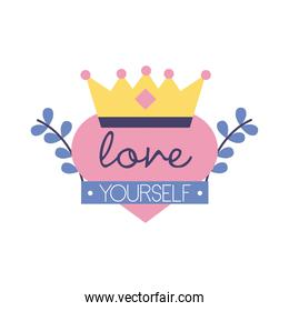 love yourself feminism lettering flat style icon