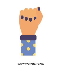 hand fist with points in sleeve feminism flat style icon