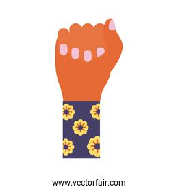 hand fist with flowers in sleeve feminism flat style icon