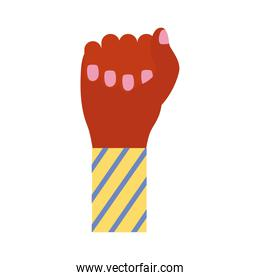 hand fist with stripes in sleeve feminism flat style icon