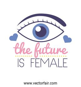 the future is female feminism lettering flat style icon