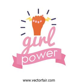 girl power feminism lettering flat style icon